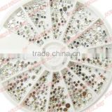3mm Clear Round Nail Rhinestones Hard Case Nail Art Tips Acrylic UV Gel Nail Decoration ##10893