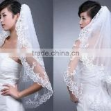 White Cathedral Wedding Bridal Applique Voile Edge wedding Veil with comb