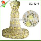 africa french net sequins fabric with 3d embroidery design flower in gold for bridal dress