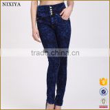 High Waist Dark Blue Women's Stretch Pencil Pants Casual Slim Skinny Jeans Trouser