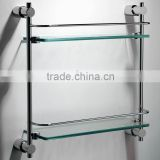 2 tiers glass shelf wall mounted bathroom glass storage shelf