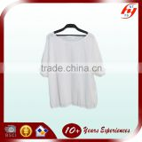Custom Made Design Lastest Cotton Blouses For Fat Women Leisure Plus Size White Loose Lady Tops
