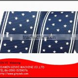 Navy Blue Star Polyester Printed Grosgrain Ribbon for Hair Bow Craft, Hair Accessories, Packing