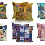 Mix Wholesale Lot Embroidered Patchwork Cushion Cover Indian Patchwork Sofa Cushion Cover