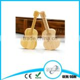 Guitar shape wooden and bamboo material usb many packaging avalibale