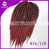 ( Color #1b/118 burgundy ) STOCK 18inch 100grams Synthetic Afro Two Tone Colored 2X Havana Mambo Twist Crochet Braiding Hair