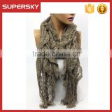 A-64 knitted lace pashmina shawl best-selling knit lace scarf shawl oversized lace scarf shawl