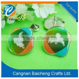 Custom Souvenir Engraved logo Custom metal badge with metal butterfly cap for sale in China