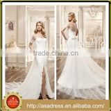 VDN40 Seductive Side Slit Wedding Dress Sheer Illusion Back Bridal Gown Short Sleeve Dresses with Detachable Tail for Weddings