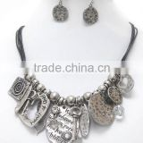 Fashion Design Metal Beads And Hammered Metal Disc Braided Cord Chain Indian jewelry set