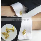 Father 's day business man Cufflink for gift/Music shape gold cufflinks