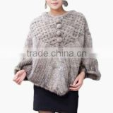 Women's faux Fur Knitted Cape Coat