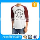 Custom Logo Promorional Burnout Raglan T Shirt 3/ 4 Sleeve T Shirt Packaging Raglan Private Label