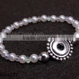 2015 New Product Snap Button Jewelry Fake Pearl Bracelet Wholesale