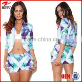 wholesale clothing woman in turkey woman wear blue-purple graphic print woman clothing                                                                         Quality Choice