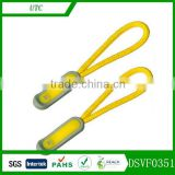Yellow color zipper puller zipper head with cord for backpack & school bag