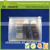 promotonal zipper top biodegradable PVC/ EVA plastic stand up pouch/ bag for cosmetic sets