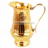 IndianArtVilla Handmade Vertical Lining Design Brass Jug Pitcher 1100 ML - Storage DrinkingWater Home Hotel Restaurant Tableware