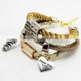 New Vintage Fashion Simple Metal Made With Love Heart Christmas Tree Multilayer Charm Leather Bracelet