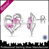 heart shaped 925 sterling silver earring findings factory price