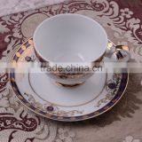 High quality dark blue&gold design of bone china Coffee cup&saucer