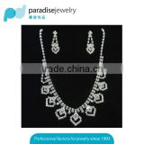 Silver Plated Wedding Jewelry Set 2016 New Women Bridal Jewelry Set Hot Wholesale Rhinestone Necklace Earring Set