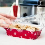 Durable Packaging Rectangular Holiday Foil Bake Pan with Clear Dome Lid