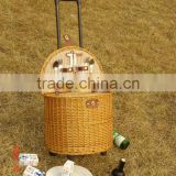 handweave wicker picnic basket with wheels& trolley&pull rodand wheels in autumn &fall