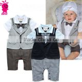 Hot Retail Baby Boys Romper Suit Set Infant Toddler Cotton short Sleeve Formal Gentlemen Suit Bodysuit Kids Jumpsuit