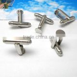 6mm White Steel Pad Blank French Cufflink Base For Glass Cabochon