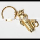 2015 new design wholesale fashion gold tone golf club bag charm keychain