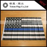 American Police Thin Blue Line black white american flag