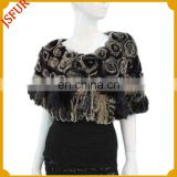 Fashion women's black rabbit fur shoulder wrap