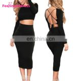 Fashion Long Sleeve Tops Black Backless Midi Bodycon Sexy Women Party Dress