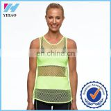 Trade Assurance Yihao 2015 Womens Custom Gym Wear Mesh Panelled Sport Singlet Tank Top Tops