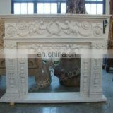 modern white marble fireplace mantel sets