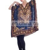 INDIAN Caftan Tunic polyester maxi poncho Women's Kaftan caftan Night wear Hippie Dress Kimono Satiny Silky Look Plus Size