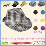 LSF85 Ningbo Lingshang Popular Cheap Factory Sale Checked Unisex popular dance Fedora Hat
