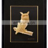 Promotional Sale 3d Picture Frames With Top Quality 24k Gold Foil Chinese arts With owl Design