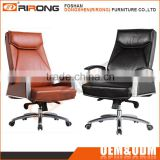 High end luxury modern stainless steel swivel brown and black leather executive office chair with locking wheels