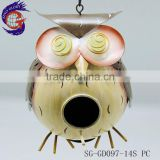 garden ornaments of metal hanging owl bird house