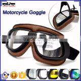 BJ-GT-008 Newest Custom Brown Leather Clear Lens Motocross Goggles