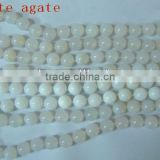 High quality necklace white agate 8mm round beads necklace jewelry