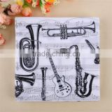 20pieces 33*33cm 100% Virgin Wood Pulp 100% eco-friendly White&Black Musical Instruments Printed Paper Napkins