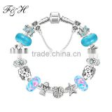 Yiwu Jewelry Handmade Large Big Hole Charm And Exquisite Flower Murano Glass Beads Bracelet For Women