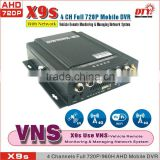 4 Channel Wifi 3G AHD 720P Mobile DVR with GPS for Bus Car Truck , MDVR with High Definition Camera,X9s