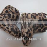 Wholesale Soft dot Sole leopard print baby fabric shoes breathable winter baby girl Boots