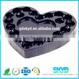 Chinese suppliers direct sale black PS blister tray packaging 20 chocolate, wholesale love shape blister box