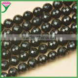 factory wholesale price 14mm natural faceted round shape black fire agate for sale