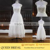 Newest Design Round Neck Sleeveless Appliqued Full Lace Ankle Length Suzhou Wedding Dress